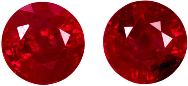 Nice Looking Ruby Well Matched Pair in Round Cut, Rich Vivid Red, 4.9 xmm, 1.45 carats