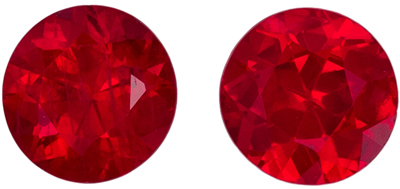 Nice Ruby Well Matched Gemstone Pair, Rich Pure Red, Round Cut, 4.1 mm, 0.69 carats