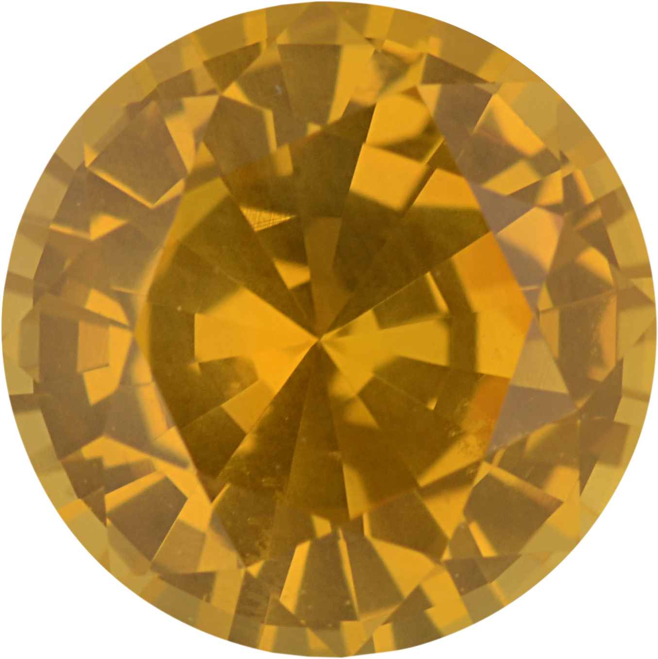 Nice Sapphire Loose Gem in Round Cut, Light Orangy Yellow, 6.73 mm, 1.37 Carats