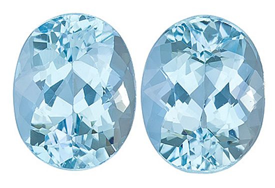 Nicely Matched Pair of Aquamarine Gems, Calibrated! Oval Cut, 4.29 Carats