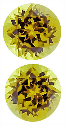 Nicely Matched Pair of Lustrous Yellowish Green Grossular Garnet Gemstones, Round Cut, 8 x 8 mm, 4.81 carats
