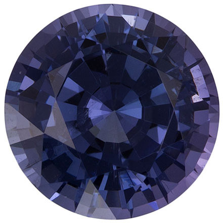 No Heat 2.28 carats Blue Spinel Loose Gemstone in Round Cut, Steely Violet Blue, 7.9 mm