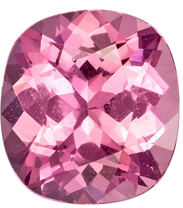 No Heat 7.5 x 7 mm Pink Spinel Genuine Gemstone in Cushion Cut, Vivid Pink, 1.65 carats