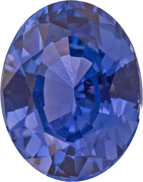 No Heat 8.4 x 6.5mm Slightly Purplish Blue Sapphire Loose Gem in Oval Cut, 1.88 carat