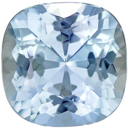 No Heat Blue Aquamarine Faceted Gem in Cushion Cut in Medium Strong Blue, 9.9 mm, 3.40 carats