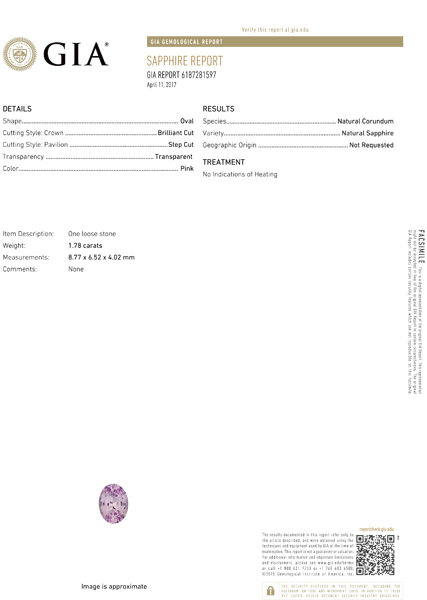 No Heat GIA Certified Baby Pink Sapphire Loose Stone in 8.8 x 6.5 mm, 1.78 carats