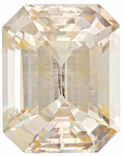 No Heat Light Champagne Peach Sapphire Loose Ceylon Gem in Emerald Cut, 9.2 x 7.3 mm, 3.53 Carats - With GIA Certficate