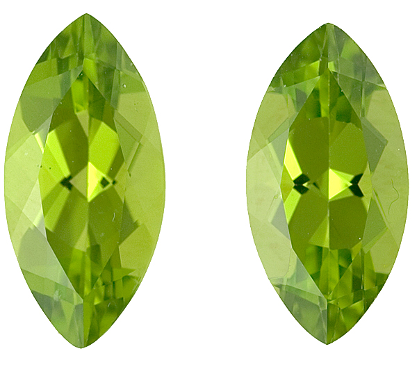 No Heat Nicely Matched Marquise Animated Green Peridot, 16.0 x 8.0mm, 9.38 carats