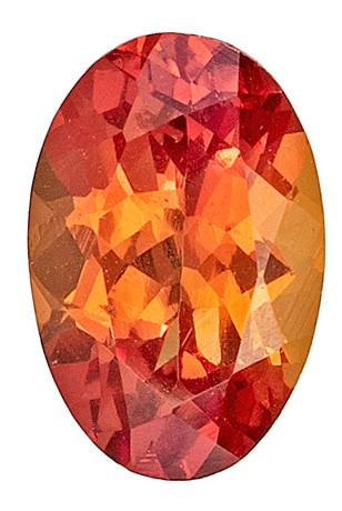 No Treatment 0.53 carats Orange Sapphire Loose Gemstone in Oval Cut, Medium Orange, 5.9 x 3.9 mm