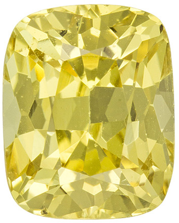 No Treatment 0.89 carats Yellow Sapphire Loose Gemstone in Cushion Cut, Light Lemony Yellow, 5.9 x 4.7 mm