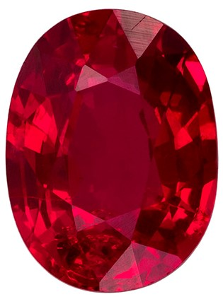 Crystal Gem No Treatment 8.0 x 6.0 mm Ruby Genuine Gemstone in Oval Cut, GIA Vivid Pigeon's Blood, 1.66 carat
