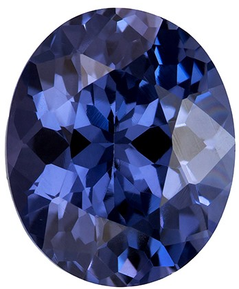 No Treatment 8.3 x 6.9 mm Blue Spinel Genuine Gemstone in Oval Cut, Steely Blue, 1.96 carats