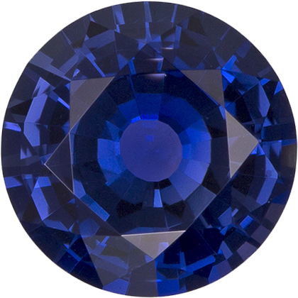 No Treatment Rich Ceylon Blue Sapphire Gem in Round Cut, GIA Cert in 6.55 x 6.6 x 3.71 mm, 1.21 carats