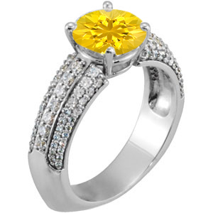 On Trend Euro Shank Genuine Yellow 7mm Sapphire Engagement Ring With Dazzling Faux Pave Diamond Accents