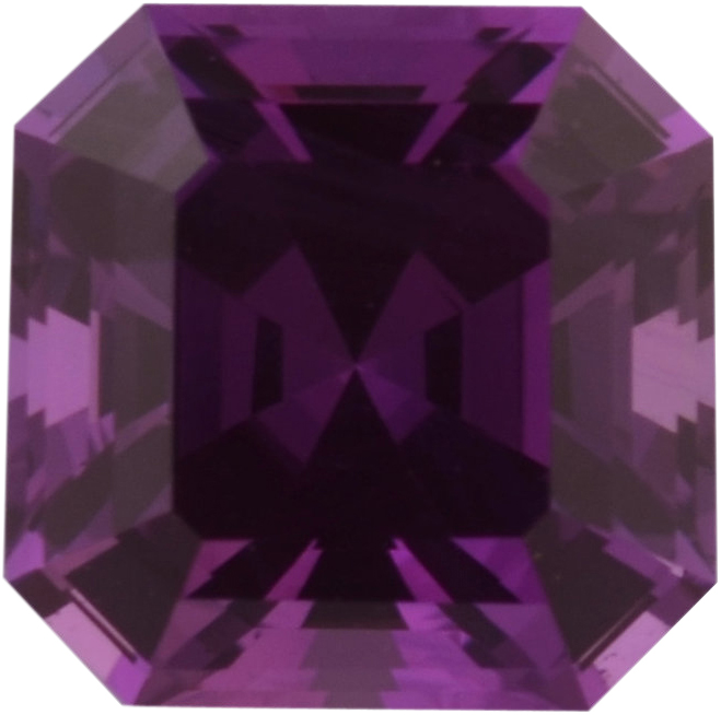 One-of-a-Kind Sapphire Loose Gem in Asscher Cut,  Vibrant Pinked Purple, 6.19 x 6.18  mm, 1.47 Carats