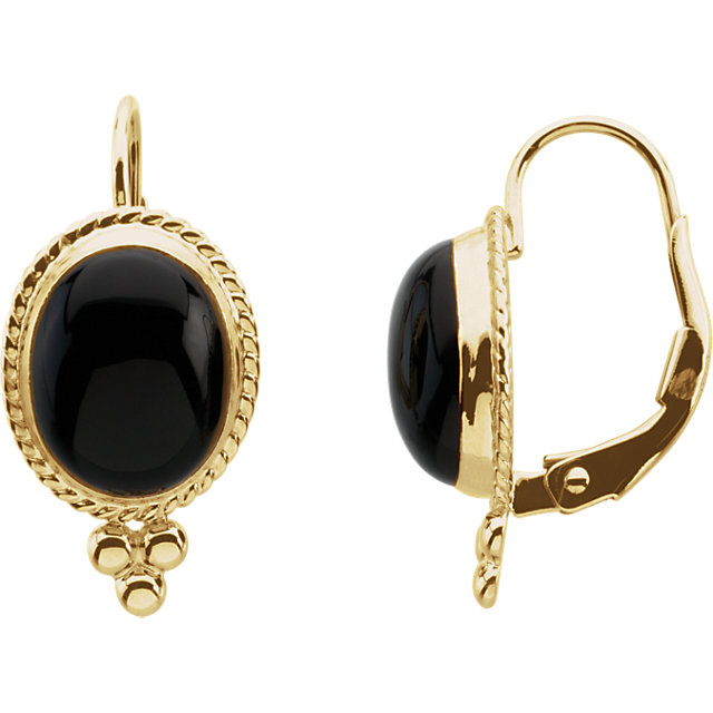 Perfect Gift Idea in Onyx Cabochon Lever Back Earrings