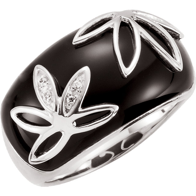 Gorgeous Onyx & Diamond Accented Floral-Inspired Ring