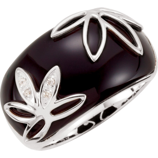 Beautiful Onyx & Diamond Accented Floral-Inspired Ring