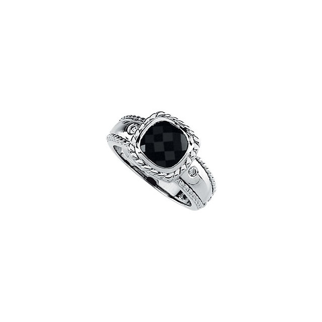 Great Gift in Onyx & Diamond Accented Rope Design Ring