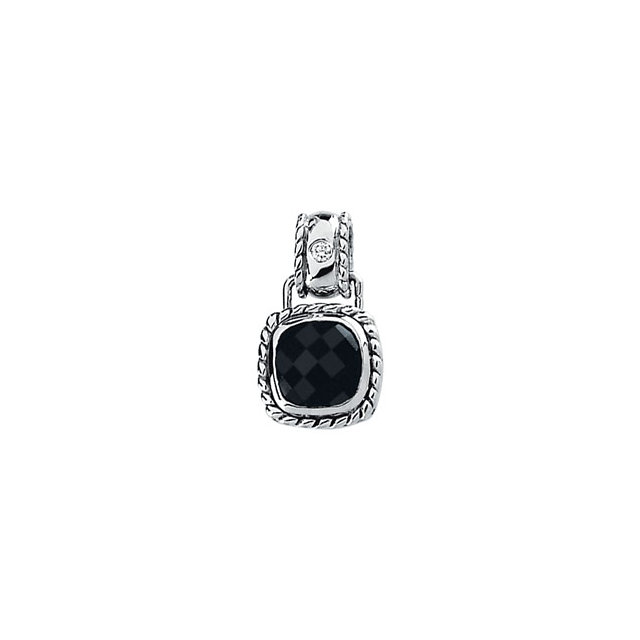 Fine Quality Onyx & Diamond Pendant