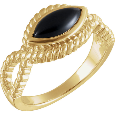 Contemporary Onyx Rope Ring
