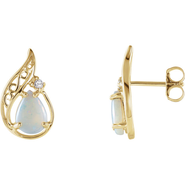Perfect Jewelry Gift 14 Karat Yellow Gold Opal & .03 Carat Total Weight Diamond Earrings