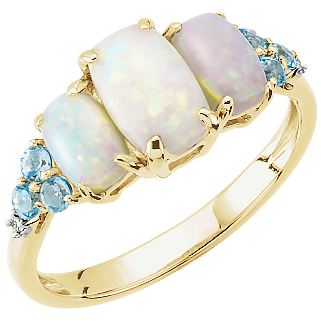 Pleasing 14 Karat Yellow Gold Oval Genuine Opal, Oval Genuine Swiss Blue Topaz, & .012 Diamond Ring