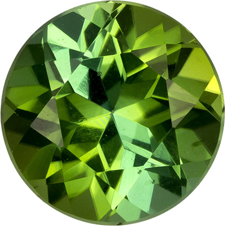 Open Green Tourmaline Genuine Brazil Gem in Round Cut, 6.5 mm, 1.07 Carats