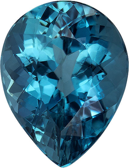 Open Vivid Blue Teal Tourmaline Gem in Pear Cut, 11.4 x 8.8 mm, 3.73 carats