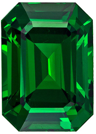 Very Fine Vivid Green Tsavorite Genuine Gem, Vivid Grass Green Color in Classic Emerald Cut, 9.4 x 6.7 mm, 3.05 carats