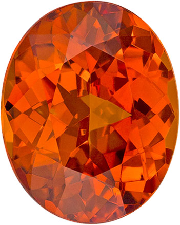 Orange Loose Garnet Spessartite, Intense Rich Orange Color in Oval Shape, 10.6 x 8.6 mm, 4.40 Carats
