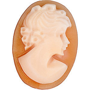 Orange Shell Cameo in Traditional Lady