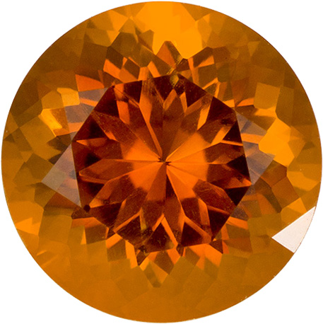 Orangey Gold Citrine Natural Gemstone in Round Cut, 8 mm, 1.8 Carats