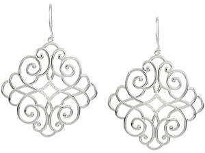 Ornate 0.20 carat total weight Diamond Earrings skillfully set in Sterling Silver for SALE - 1.00 mm stones