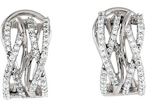 Ornate 0.75 carat total weight 1.10 mm Diamond Earrings skillfully set in 14 karat White Gold for SALE - SOLD
