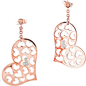 Ornate .025 carat total weight Diamond Heart Earrings skillfully set in 14 karat Rose Gold and 14 karat White Gold for SALE - SOLD