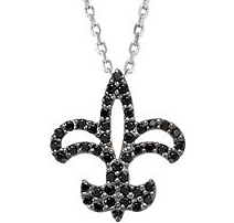 Ornate .02ct 1mm Black Spinel Fleur-de-Lis Pendant or Necklace skillfully set in Sterling Silver for SALE - for SALE
