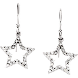 Ornate 1/3 ct tw 1.00 mmDiamond Star Earrings skillfully set in 14 karat White Gold - Very Festive