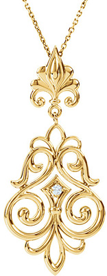 Ornate 14k Gold Solitaire .03ct 2.00 mm Diamond Pendant With Elegant Scroll Style and Fleur De Lis Decorations