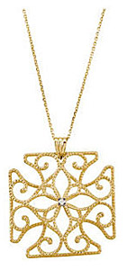 Ornate 14kt Yellow Gold .01 ct Diamond Medallian Pendant With Twisted Gold Designs - FREE Chain Included