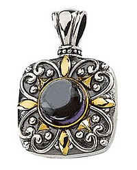 Ornate 2.36ct 8.00 mm Amethyst Cabochon Pendant set in Sterling Silver & 14 karat Yellow Gold - SOLD