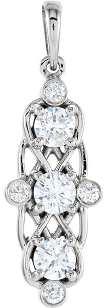 Ornate 3-Stone 3.40 mm 1/2 ct tw Diamond Pendant With Diamond Accents for SALE - Metal Type Options - FREE Chain