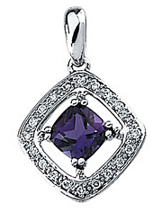 Ornate .95ct 6mm Antique Amethyst Pendant set in 14 karat White Gold - Channel Set Diamond Frame