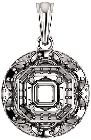 Ornate Accented Halo Pendant Mounting for Asscher Shape Centergem Sized 5.00 mm to 7.00 mm - Customize Metal, Accents or Gem Type