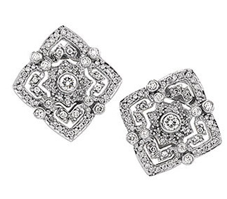Ornate and Intricate 1 ct Diamond Studded Post Back Earrings for SALE