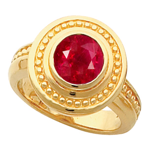 Ornate Beaded Etruscan Style 14k Gold Bezel Set with Natural 1 carat 5.8mm Ruby Fashion Gold Ring for SALE