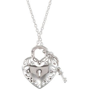 Ornate Cut-Out Design Heart Lock and Key Sterling Silver Pendant with .17ct Diamond Accents for SALE - FREE Chain Included