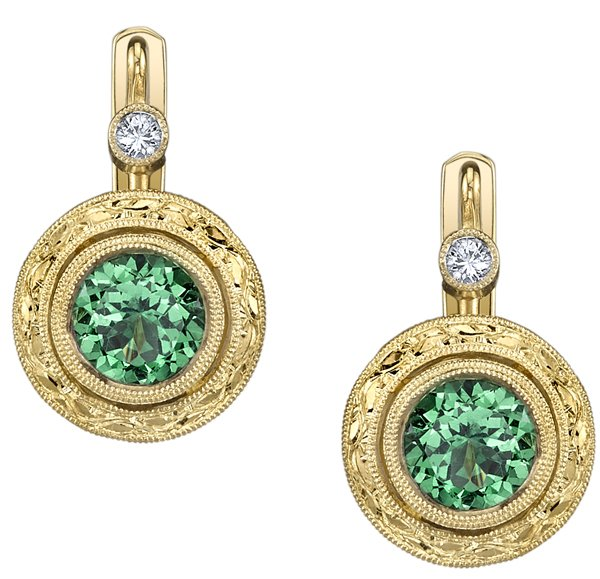 Ornate Hand Carved 6.10 mm Round Tsavorite Garnet Bezel Set Earrings in 18kt Yellow Gold - Yellow Diamond Accents