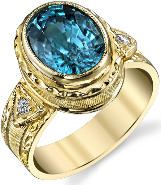 Ornate Handmade 4.72ct Oval Blue Zircon Ring in 18kt Yellow Gold -Diamond Side Gems
