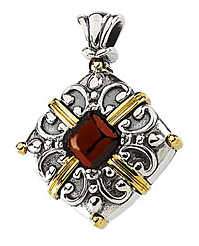 Ornate Mozambique Garnet Pendant set in Sterling Silver & 14 karat Yellow Gold - Free Chain